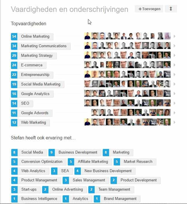 vaardigheden-endorsements in Linkedin