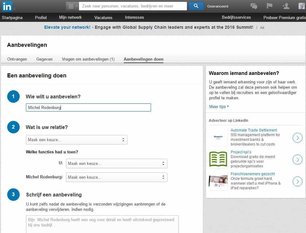 aaAanbeveingen beheren LinkedIn